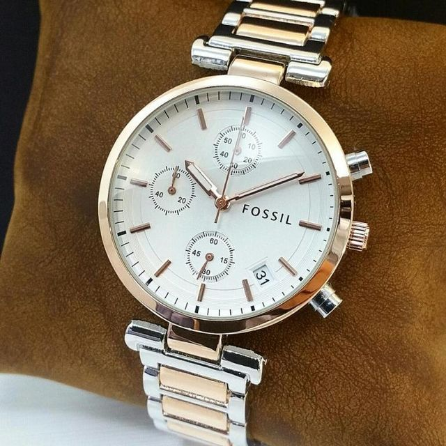 Golden White Dial Fossil Watch