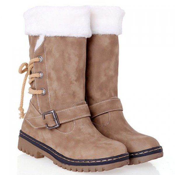 Vintage Suede and Buckle Design Women's Combat Boots, CAMEL, 39 in Boots | DressLily.com