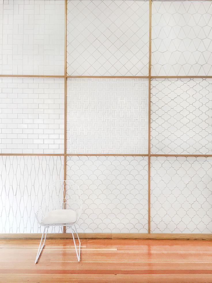 Carreaux de salle de bain : différentes formes (écailles, losanges, métro...) / Bathroom tiles : various shapes