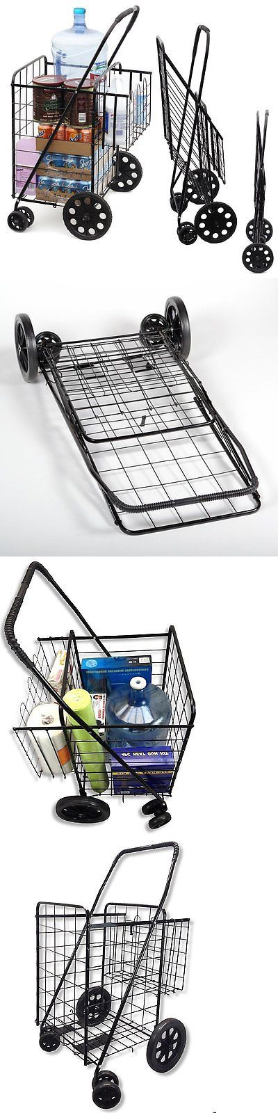 Laundry Bags 43516: Wellmax Wm99017s Double Basket Folding Shopping Cart With Swivel Wheels, Black -> BUY IT NOW ONLY: $48.17 on eBay!