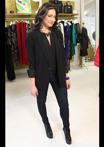Top by Joie/joie.com, blazer by Helmut Lang/helmutlang.com, jeans by Rag & Bone/rag-bone.com, booties by Mark & James/badgleymischka.com #WNTW