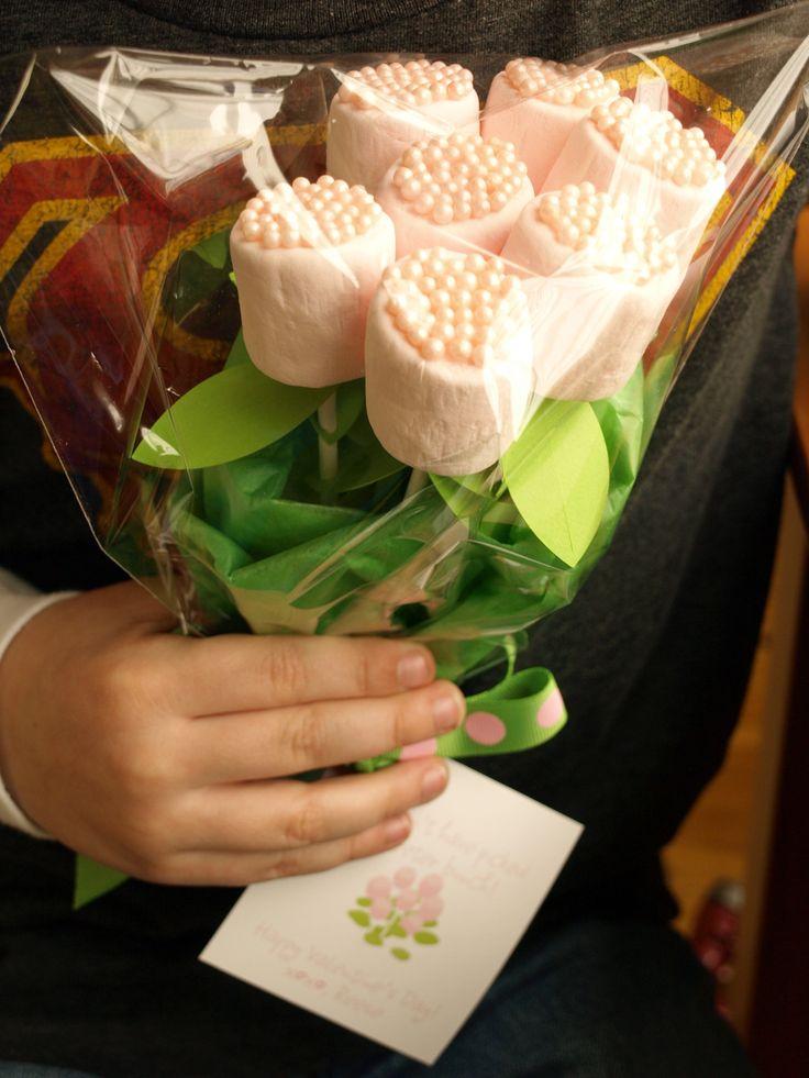 Marshmallow roses....love this idea!