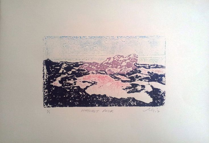 Buy WATCHET ROCK, Linocut by Adam Grose on Artfinder. Discover thousands of other original paintings, prints, sculptures and photography from independent artists.  #painting #printing #printmaking #collagraphic #landscape #quantocks #somerset #print #waterbased #cartridge #view