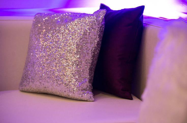 Silver Sequin & Eggplant Purple Pillows