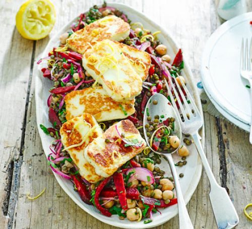 Halloumi with lemony lentils, chickpeas & beets 418 cals with low fat halloumi