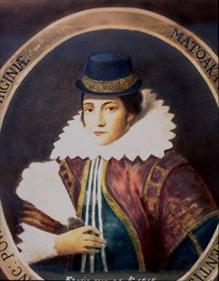 Pocahontas, daughter of Powhatan, a powerful chief of the Algonquian Indians, married John Rolfe on April 5, 1614.