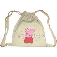 Υφασμάτινη τσάντα με την Πέππα σε φυσικό χρώμα δεμένο σε μπομπονίερα.  #tsanta_peppa #poygki_tsanta_peppa #vaptisi_peppa