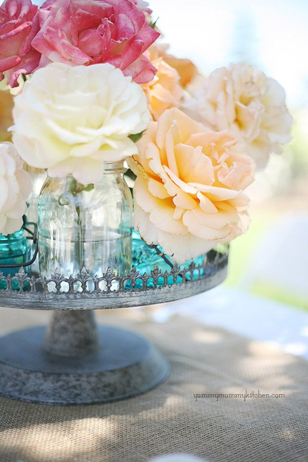 pretty flowers on vintage tray