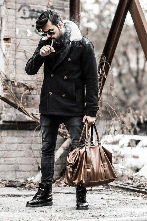 Beard lammy coat jeans tumblr doc Martens Style men. Get inspired! #WORMLAND Men's Fashion