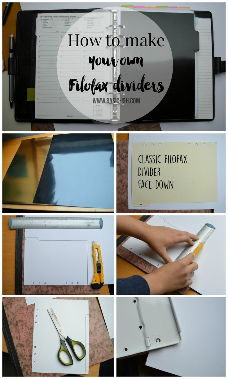 How to make your own Filofax dividers. www.basic-ish.com
