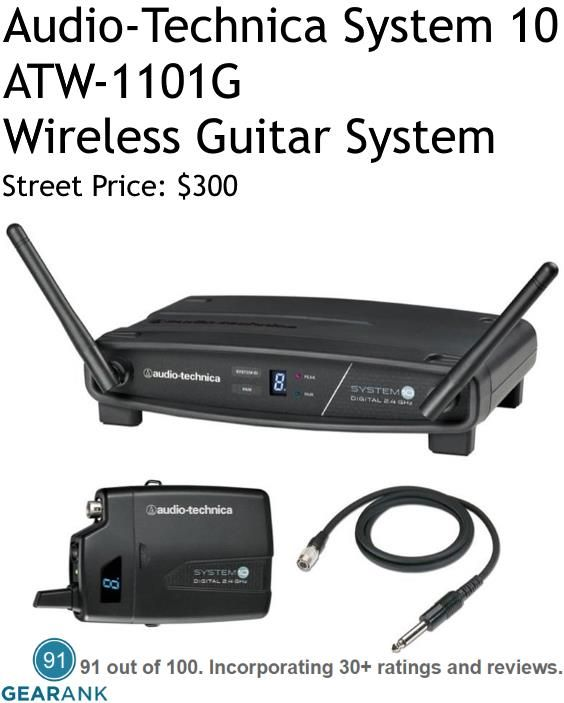 Audio-Technica System 10 ATW-1101G Wireless Guitar System. The System 10 receiver scans for the best available frequency (or open channel) to avoid interference, and configures the transmitter accordingly. For a detailed guide to The Best Wireless Guitar Systems see https://www.gearank.com/guides/guitar-wireless-systems