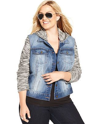 Jessica Simpson Plus Size Hoodie Denim Jacket - Junior Plus Sizes - Plus Sizes - Macy's