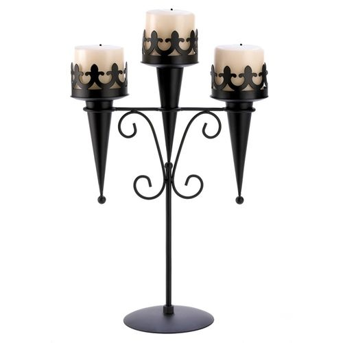 Set of 4 Black Iron Gothic Triple Pillar Candle Holders Stands | eBay
