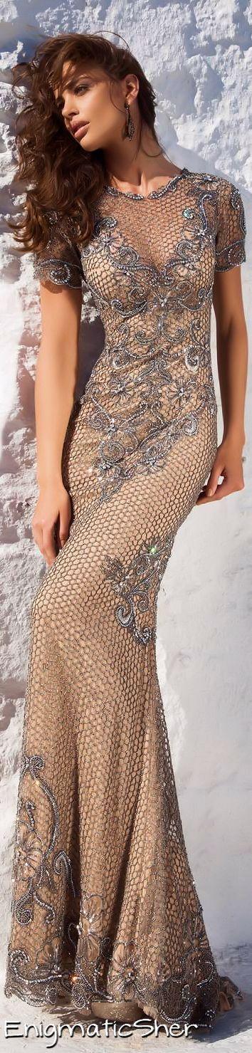 Short-sleeved silver mesh Style 92648 evening dress (Tarik Ediz)