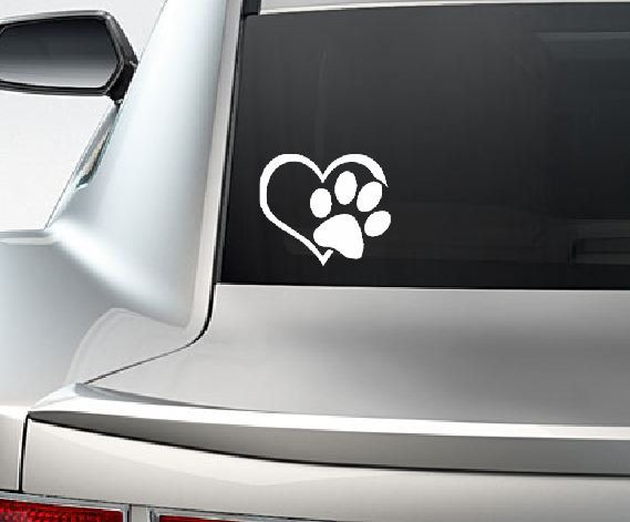 Paw with heart i love my dog pet window vinyl car decal laptop sticker on etsy
