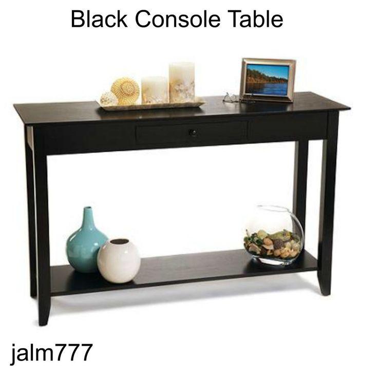 American Heritage Console Table Black Drawer Shelf Sofa