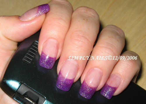 Acrylic Gel Purple French Tip Nails