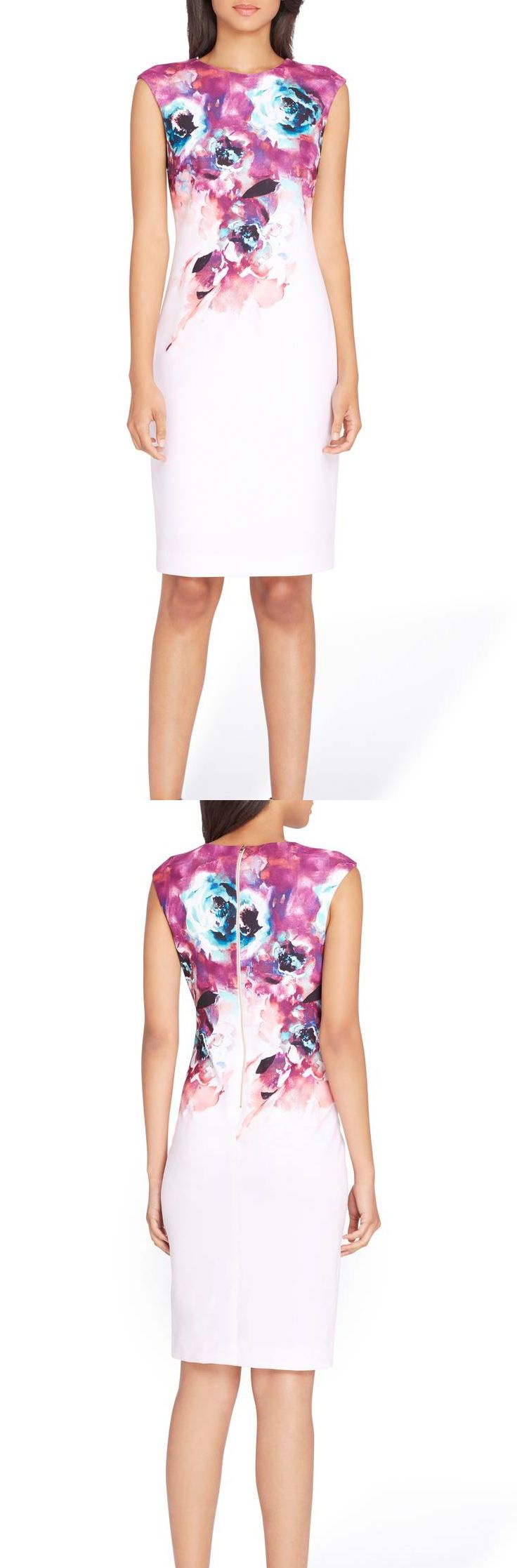 Floral Sheath Dress with Ombre Floral Print. Beautiful fitted boycon summer events dress for Kentucky Derby, Royal Ascot, Racing fashion, or spring summer wedding guest outfits inspiration, outfit ideas. Fashionista. #racingfashion #floraldress #kentuckyderby #bodycondresses #sheathdress #royalascot #ascotoutfits #weddings #weddingguest #affiliatelink #fashion #ootd #dresses #derbyoutfits