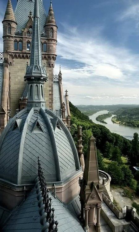 Interesting Roofline of Castle Drachenburg, Königswinter, North Rhine-Westphalia, Germany