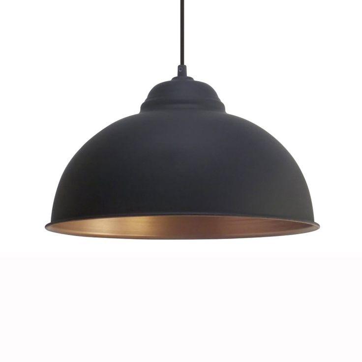 Eglo Truro 2 Black and Copper 370 Pendant - Kitchen Lighting from Dusk Lighting UK