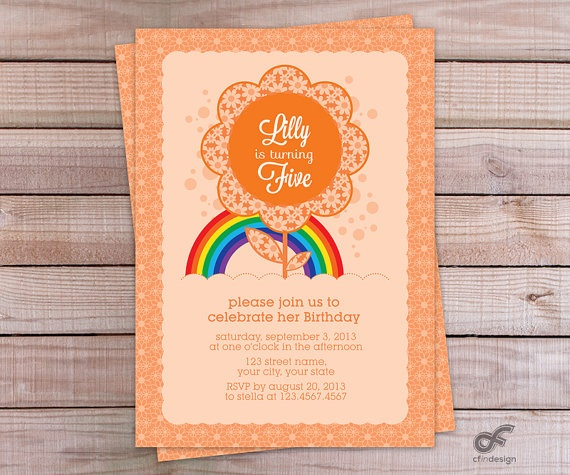 Birthday Party Invitation Personalised Printable  by CFinDesign