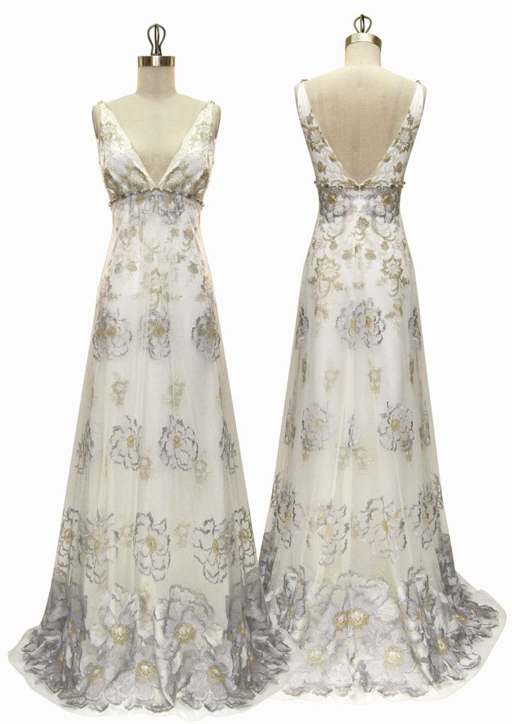 From the Spirit of the Night Couture Bridal Collection Luna has Grey camellias layered over gold lace and pearl silk in a soft Empire silhouette embellished ...