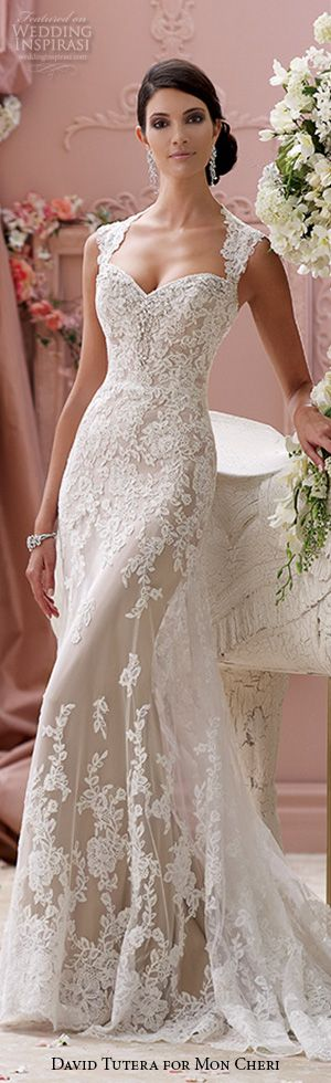 Sheath cut dress.  david tutera mon cheri spring 2015 style 115229 lourdes corded lace slim a line cap  stunning gorgeous sheath wedding dress ivory mocha #weddingdresses #weddings