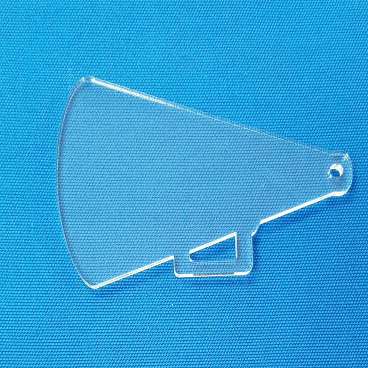 "Clear & Colors Megaphone Acrylic Keychains 1/8"" thick. Chose your size and favorite color. Available in 25, 50 and 100 units pack."