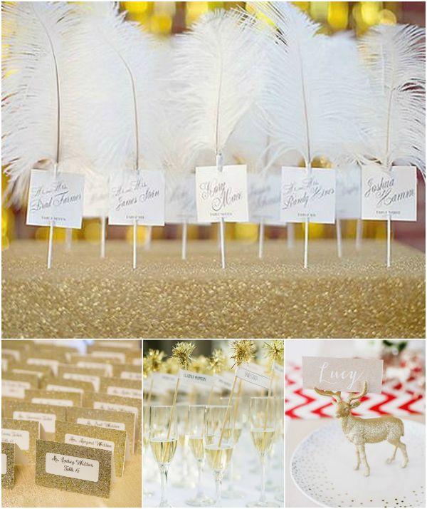 2016 Winterhochzeit goldene Hochzeit Tischkarten Platzkarten Inspiration #wedding #gold #placecards