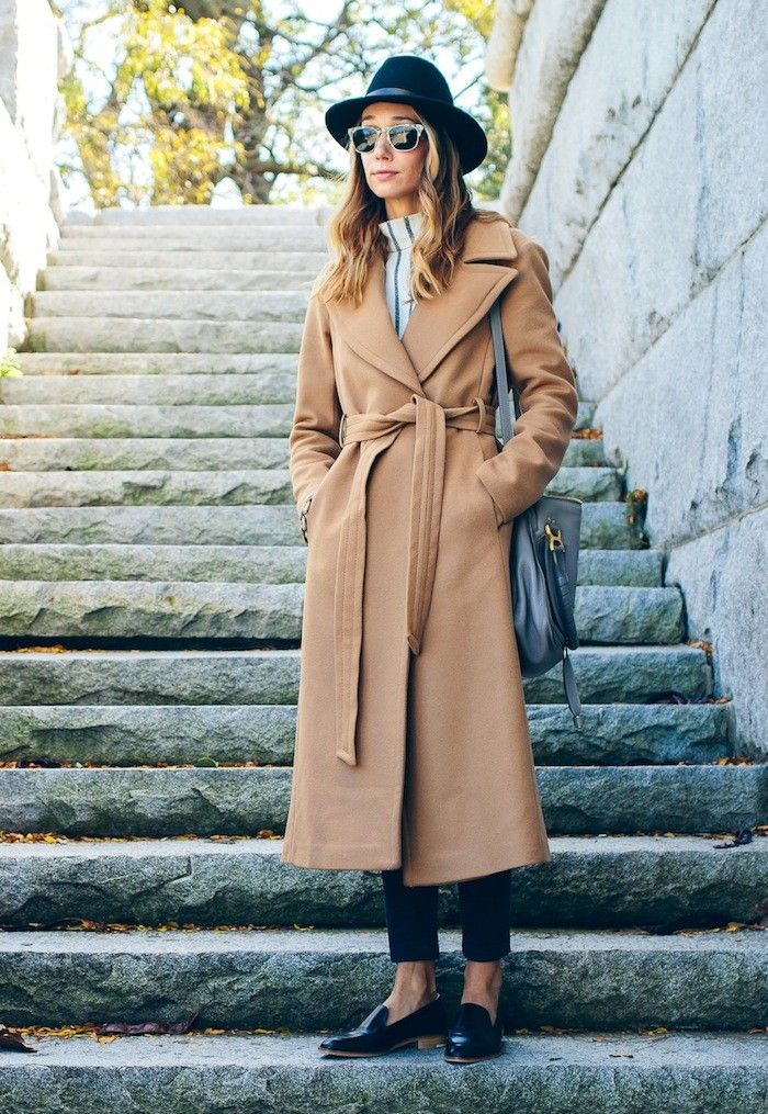 Steal This Blogger's Stylish Camel Wrap Coat Look via @WhoWhatWear