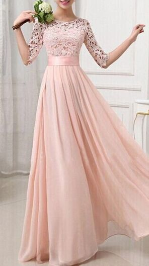 lace bridesmaid dress, cheap prom dress, blush pink prom dress, long sleeve prom dress