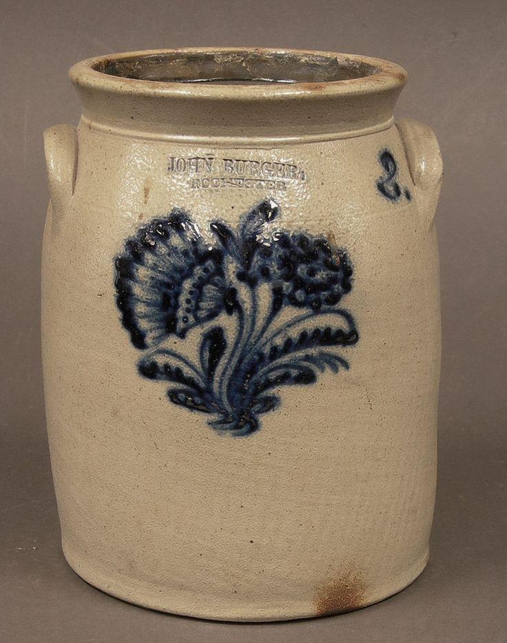 Vintage Antique Cobalt Decorated Stoneware 2 Gallon Crock John Burger Rochester