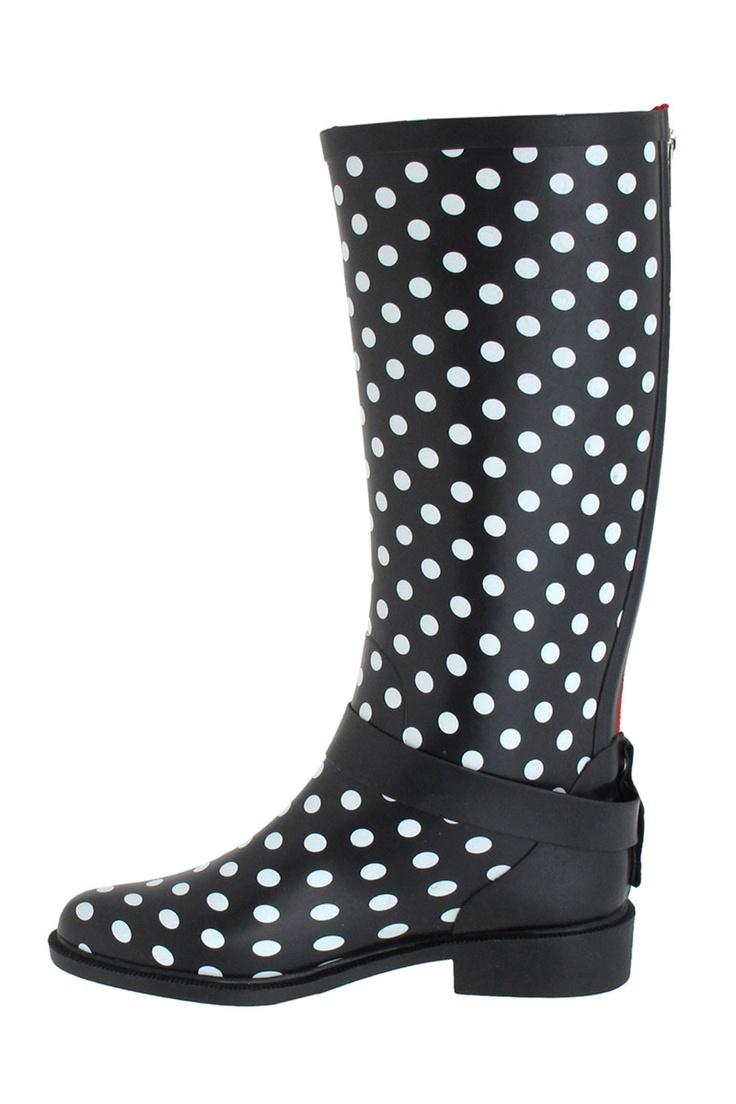 Shiny Polka Dot Riding Rain Boot