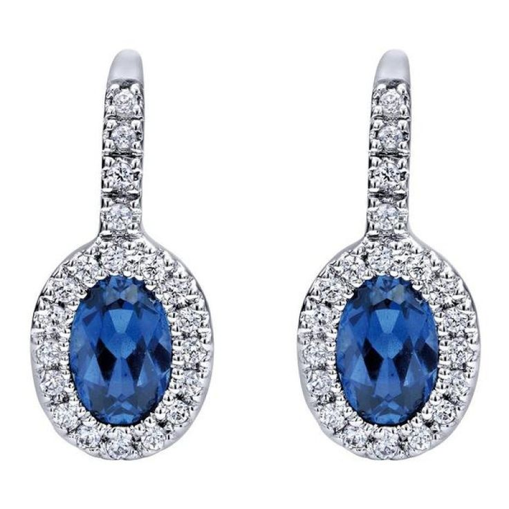14k white gold sapphire and diamond oval halo earrings from Mullen Jewelers