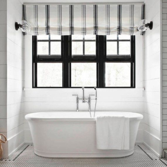 Modern Farmhouse Roman Shades Custom Black Gray Grey