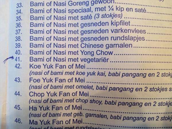 Vegetariërs, pas op bij deze Chinees! - Taalvoutjes