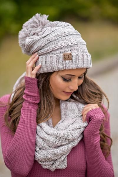 Soft & Sweet This Girly Light Grey, Pink & White Knit Beanie is a Must Have With a pale pink, grey and white knit this subtle girly knit beanie is a sw