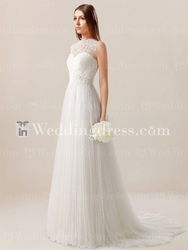 Simple informal wedding dress features illusion neckline and eye-catching Lace illusion back detail.