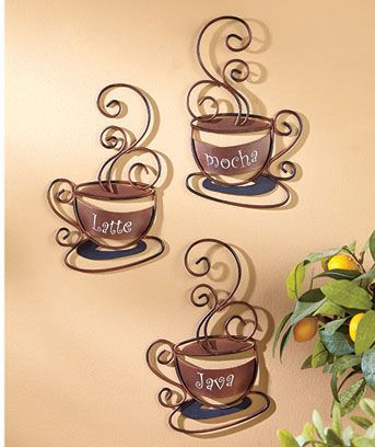 """Caffeinate your home with the mocha tones of the Decorative Metal Coffee Collection. The Set of 3 Coffee Cups (8-1/2"""" x 5-3/4"""", each) are labeled Mocha, Latte and Java. The Clock (11-1/2"""" x 9-1/2"""" with a 3-1/2"""" dia. face) requires 1 """"AA"""" battery."""
