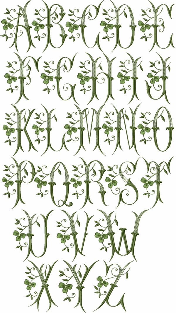 "ABC Designs Shamrock Font Machine Embroidery Designs for 4""x4"" Hoop All Capitals"
