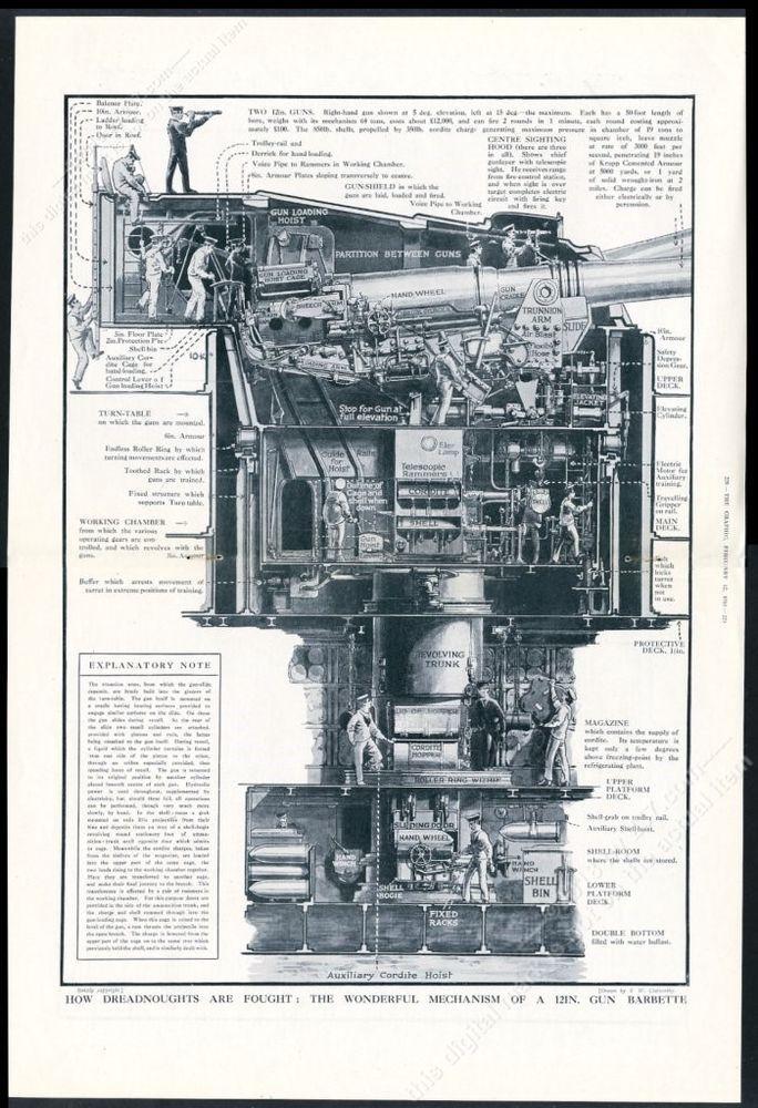 1916 wwi royal navy 12 inch gun barbette big detailed diagram print  articlenavy ships|navy