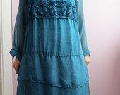Elegant Turquoise Everyday Dress Size S/M