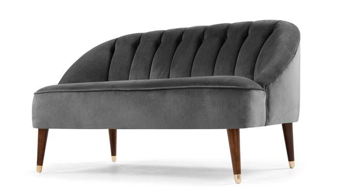 Margot 2 Seater Sofa, Pewter Grey Velvet