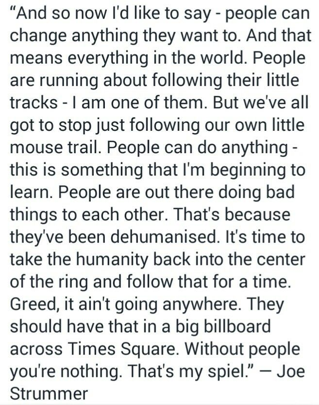 Time to take back humanity Joe Strummer quote