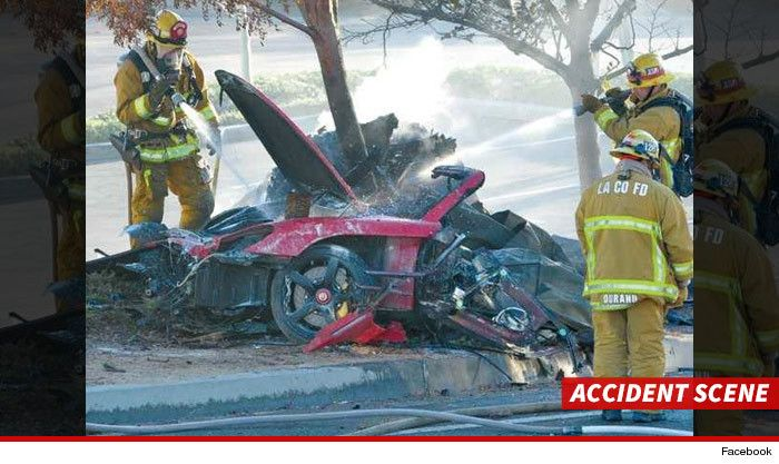 It used to be a Porsche. The accident scene where actor Paul Walker and his friend were killed.