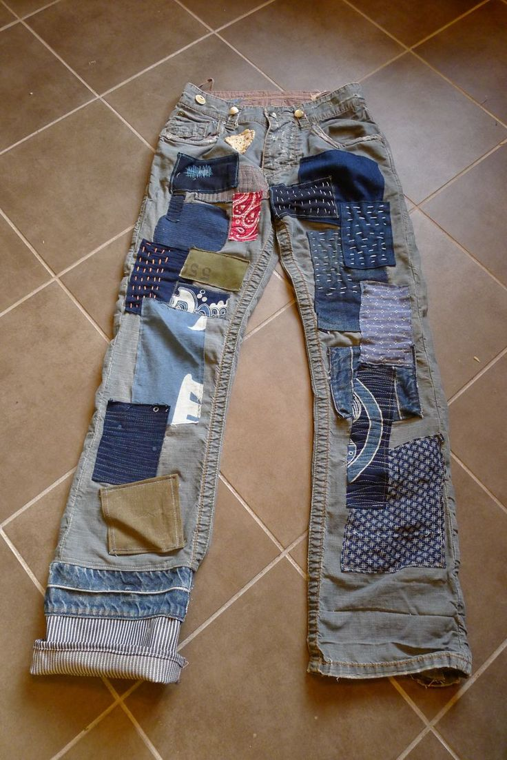 special order patchwork jeans for a designer friend. vintage Japanese cloth, indigo textiles and military cloth.
