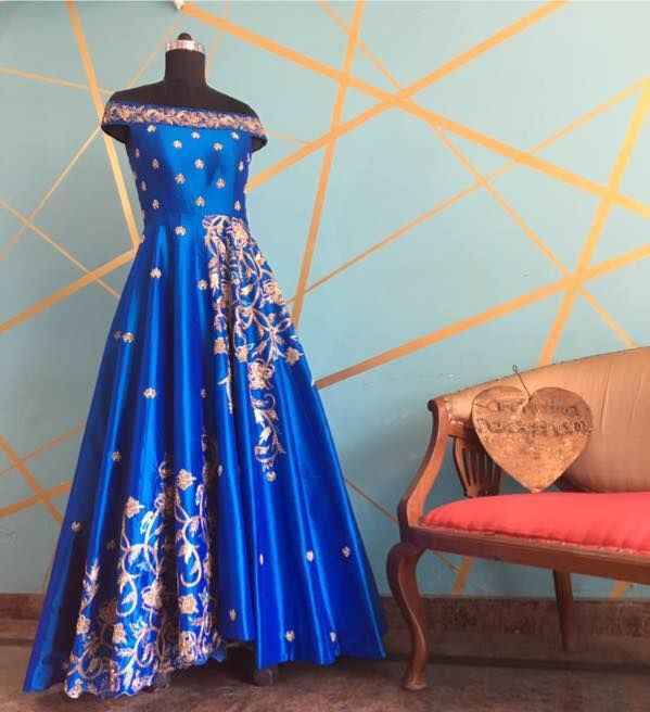 Architha Narayanam  signature gown in a beautiful peacock blue looks royal and classic !Order yours to stay stylish!  11 April 2017