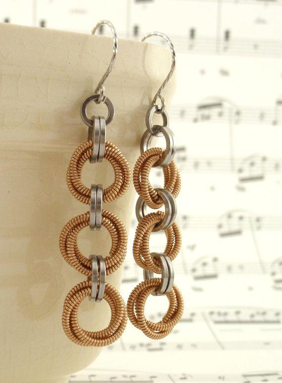 Zing 3 Guitar String Earrings by unkamengifts on Etsy, $22.00