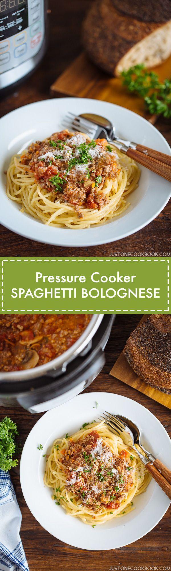 Pressure Cooker Spaghetti Bolognese | More Recipes at JustOneCookbook.com