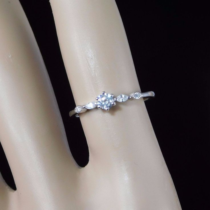 Dainty CZ Diamond Sterling Silver Promise Ring/Stackable Ring –   Promise ring.  Engagement rings. Dainty rings.